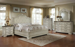 4 Pc Cream Leather Wing Bedroom Set Reptile Crocodile Leather Crystal Accents