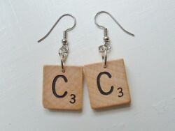 Scrabble Tile Earrings all letters initials choose any pair wood wooden vintage