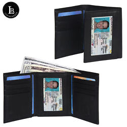 Leatherboss Genuine Leather Men#x27;s Wallet Trifold with Outside Window Black $6.49