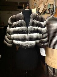 EMPRESS CHINCHILLA SHORT JACKET BOLERO Shrug with 12 sleeves COAT NEW SAKS
