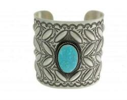 Herman Smith Kingman Turquoise Wide Sterling Silver Cuff Navajo Signed