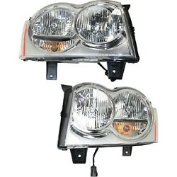 2005-2007 For Jeep Grand Cherokee Headlights Headlamps Pair Left+Right $84.95