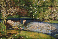 36x24 John Millais Ophelia Mural Tumbled Marble Tiles for Bathroom