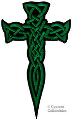 CELTIC CROSS DAGGER GREEN iron-on PATCH embroidered IRISH CHRISTIAN RELIGIOUS