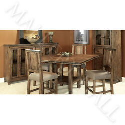 Rustic Reclaimed Distressed Wood Banded Metal Trim Counter Table Set W4 Stools