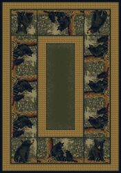 Rustic Lodge Decor Bear and Cubs Green Beige Black 8X11 Area Rug Carpet New