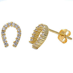 Yellow Gold Plated Cz Horse Shoe .925 Sterling Silver Earrings