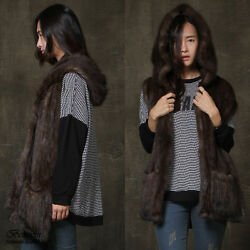 NWT Women genuine leather natural sable fur scarf shawl wrap hoodie front pocket
