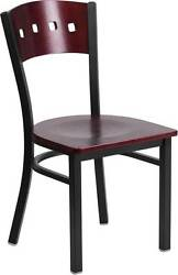 LOT OF 20 BLACK DECORATIVE 4 SQUARE BACK METAL RESTAURANT CHAIR - MAHOGANY WOOD