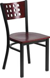LOT OF 20 BLACK DECORATIVE CUTOUT BACK METAL RESTAURANT CHAIR MAHOGANY WOOD BACK