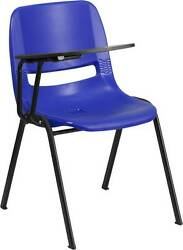 LOT OF 20 BLUE ERGONOMIC SHELL CHAIR WITH RIGHT HANDED FLIP-UP TABLET ARM