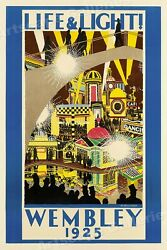 Wembley England Life & Light 1925 British Nightlife Travel Poster - 16x24