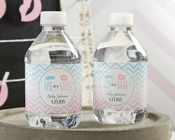 24 Personalized Gender Reveal Water Bottle Labels Baby Shower Favors