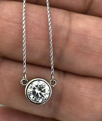 1.50ct Bezel Diamond Solitaire Pendant Necklace 14K White Gold