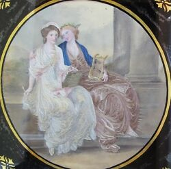 Fine Antique English Needlework Oil on Silk of Muses in Mirror  c. 1780 - 1820