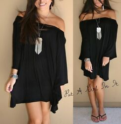 Womens SOLID LITTLE BLACK BOHO WING BELL LONG SLEEVE MINI DRESS BOHO S M L XL $26.95