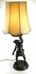 Artfully crafted brass lamp depicting Ophiuchus with snake in hand - 39