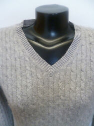 Silver  Gray Cashmere Sweater Cable Knit  Metallic Threads  V Neck  M