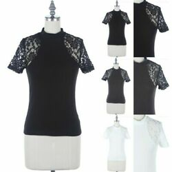 Floral Lace Inset Short Sleeve High Mock Neck Top Casual Cotton Fitted S M L $11.99