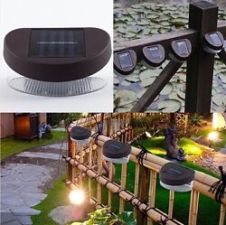 Outdoor Decorative Garden Fence Wall 2 LED Shed Solar Powered White Light Lamp