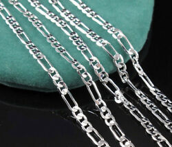 1pcs Mens Lots 925 Silver 2.5mm Italian Figaro Link Chain Necklace 16 30 Inches $1.99