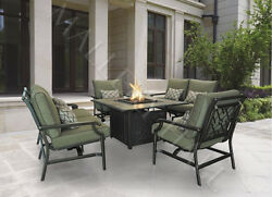 5 Piece Outdoor Tile Top Firepit Table Set - Several Seat Options