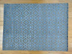 10'x14' Wool and Silk Arts And Crafts Design Handmade Rug R24747
