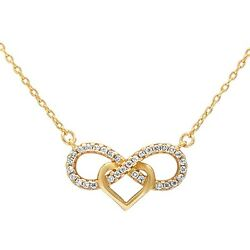 Yellow Gold Plated Cz Infinity w heart .925 Sterling Silver Pendant Necklace