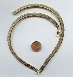 VINTAGE CRYSTAL HEART RHINESTONE GOLD 7mm. HERRINGBONE 18quot; CHAIN NECKLACE CH6 $2.99
