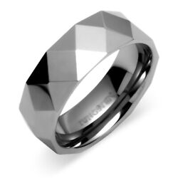 Multi Faceted 8mm Comfort Fit Mens Tungsten Carbide Wedding Band Ring Size 11