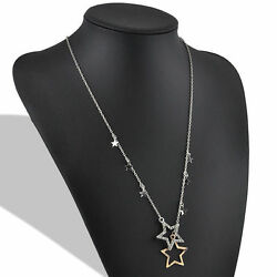 High Quality Silver Gold Crystal Rhinestone Stars Pendant Necklace Long Chain