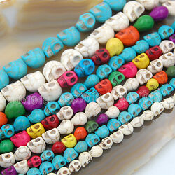 """Howlite Turquoise Carved Skull Loose Spacer Beads 16"""" Pick $3.99"""