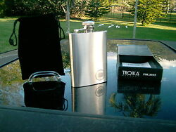 NEW  LUCKY STRIKE TROIKA GERMANY  STAINLESS STEEL FLASK  3.5 OZ. HINGED TOP NICE