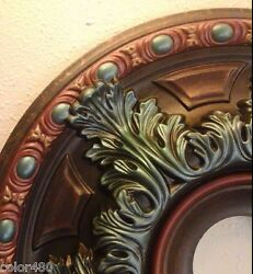 BRAND NEW! WESTERN TURQUOISE COPPER PAINTED CEILING MEDALLION WALL HOME DECOR 19
