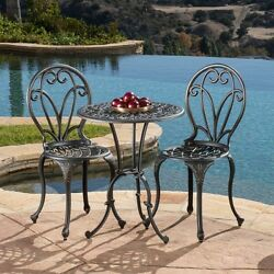 CAST IRON 3Pc Outdoor TABLE CHAIR SET Dark Gold Bistro Patio Deck Furniture NEW
