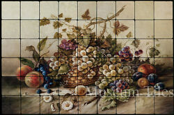 Art Mural 36x24 Pila Corado Fruit Basket Backsplash Tumbled Marble Tiles