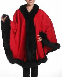 RED CASHMERE BLACK FOX FULL SKIN TRIMMED 100% SWING CAPE WRAP COAT NEW W TAGS