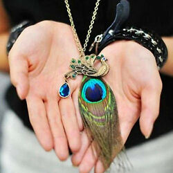 Women Charm Retro Peacock Feather Pendant Long Chain Vintage Sweater Necklace