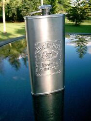JACK DANIEL'S OLD NO. 7  STAINLESS STEEL FLASK  5 OZ. HINGED TOP NICE 2007
