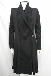 Giorgio Armani Women Black Wool Cashmere Sweater Long Coat Knit Jacket Medium 44