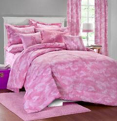 QUEEN SIZE 7 PC BROWNING BUCKMARK CAMO PINK Comforter Set (Camo Bed In A Bag)