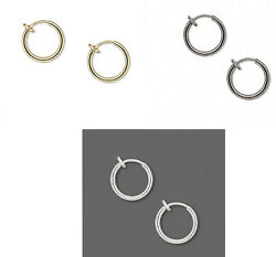 Hoop Earrings For Non Pierced Ears 17MM With Snug Fit Spring Closure