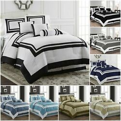 Chezmoi Collection 7 Piece Hotel style Comforter Set Full Queen King Cal King $57.99