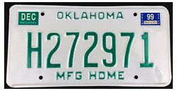 Oklahoma 1999 MANUFACTURED HOME License Plate - Natural Sticker!