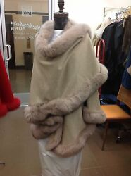 BEIGE FOX FULL SKIN TRIMMED 100% CASHMERE SWING CAPE WRAP COAT NEW WITH TAGS