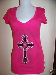 GUESS EXOTIC ROSE ANGEL CROSS  TEE TOP LG cotton basic tee new nwt