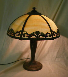 Antique Slag Glass Caramel Six Panel Electric Table Lamp $895.00