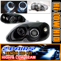Fits 2 Set HID 96-98 Civic Black 2 Halo Projector Headlights
