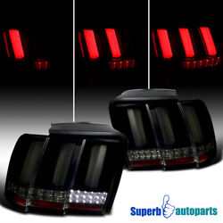 For 1999-2004 Ford Mustang Sequential LED Tail Lights Lamps Glossy Black Smoke $196.98