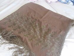 Pair Antique Wool & Silk Hand Embroidered Piano Shawl Throw Eastern European 56